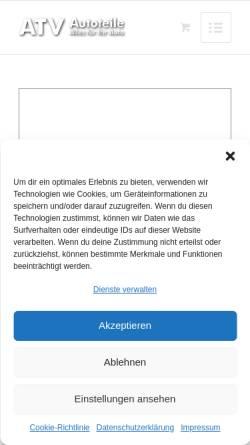 Vorschau der mobilen Webseite autoteile-atv.de, ATV Autoteile GbR