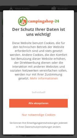 Vorschau der mobilen Webseite www.campingshop-24.de, Campingshop 24