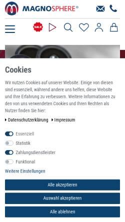 Vorschau der mobilen Webseite www.magno-sphere.de, Magnosphere GmbH
