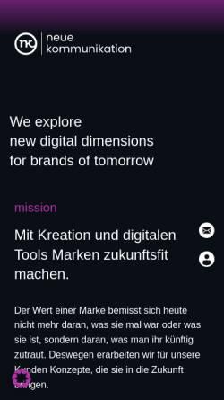 Vorschau der mobilen Webseite neuekommunikation.biz, nk neue kommunikation GmbH
