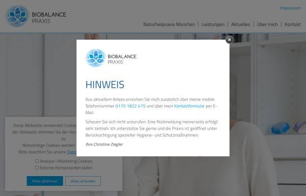 Vorschau von www.biobalance-praxis.de, Biobalance Praxis - Christine Ziegler Heilpraktiker