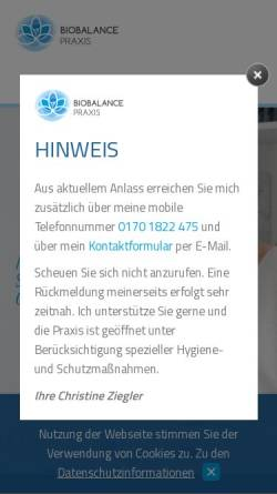 Vorschau der mobilen Webseite www.biobalance-praxis.de, Biobalance Praxis - Christine Ziegler Heilpraktiker