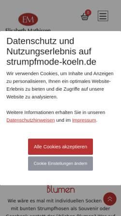 Vorschau der mobilen Webseite www.strumpfmode-koeln.de, Elisabeth Mathissen, Strumpfmode Köln