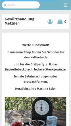Vorschau der mobilen Webseite shop-gewuerzhandlung-metzner.de, Gewürzhandlung Metzner