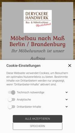 Vorschau der mobilen Webseite moebel-tischler-berlin.de, Tischlerei Deryckere-Handwerk GbR