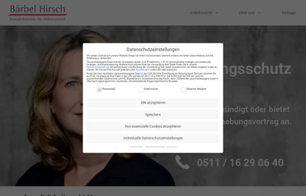 Vorschau von baerbelhirsch.de, Bärbel Hirsch - Anwaltskanzlei für Arbeitsrecht