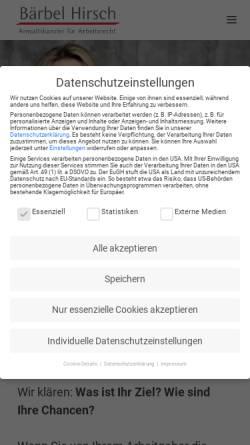 Vorschau der mobilen Webseite baerbelhirsch.de, Bärbel Hirsch - Anwaltskanzlei für Arbeitsrecht