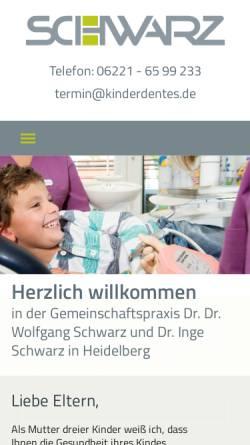 Vorschau der mobilen Webseite www.kinderdentes.de, Gemeinschaftspraxis Dr. Dr. Wolfgang Schwarz und Dr. Inge Schwarz