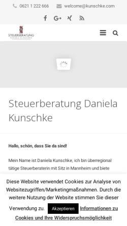 Vorschau der mobilen Webseite www.kunschke.com, Steuerberatung Daniela Kunschke