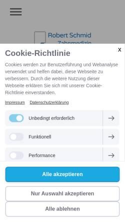Vorschau der mobilen Webseite www.zahnarzt-robert-schmid.de, Zahnarztpraxis Robert Schmid