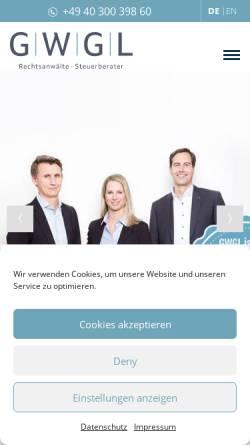 Vorschau der mobilen Webseite www.gwgl-hamburg.de, GWGL Kanzlei Rechtsanwälte und Steuerberater