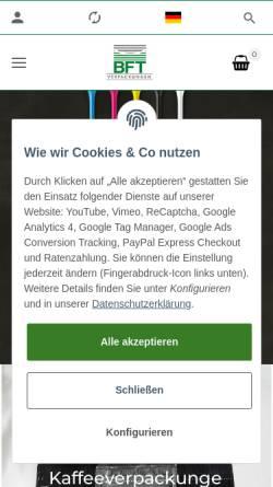 Vorschau der mobilen Webseite www.folientaschen.de, BFT Verpackungen GmbH