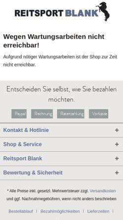 Vorschau der mobilen Webseite www.reitsport-blank.de, Reitsport Blank GmbH
