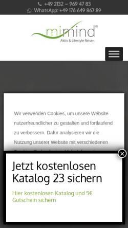 Vorschau der mobilen Webseite www.mimind.de, mimind Aktiv & Lifestyle Reisen GmbH