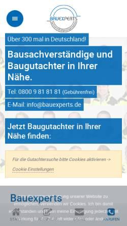 Vorschau der mobilen Webseite www.bauexperts.de, Bauexperts Sachverständigengesellschaft mbH