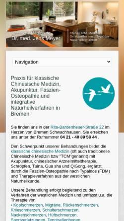 Vorschau der mobilen Webseite www.klassische-medizin.de, Praxis für Chinesische Medizin und integrative Naturheilverfahren - Dr. Jens Meyer