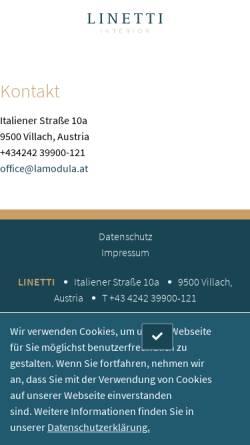 Vorschau der mobilen Webseite www.linetti.com, Linetti GmbH