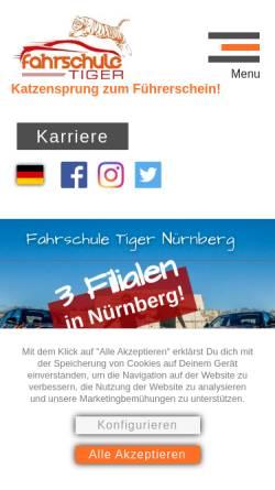 Vorschau der mobilen Webseite fahrschule-tiger.de, Fahrschule Tiger UG