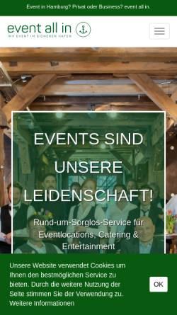 Vorschau der mobilen Webseite www.event-all-in.de, BGM GmbH - event all in