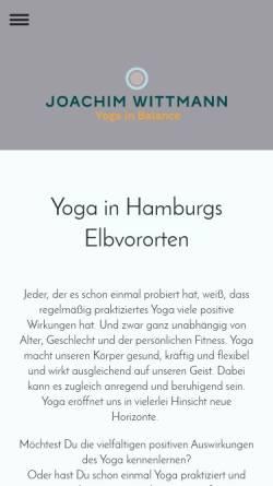 Vorschau der mobilen Webseite www.jo-wittmann.yoga, Joachim Wittmann - Yoga in Balance
