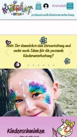 Vorschau der mobilen Webseite www.kunterbuntberlin.de, Kinderschminken in Berlin