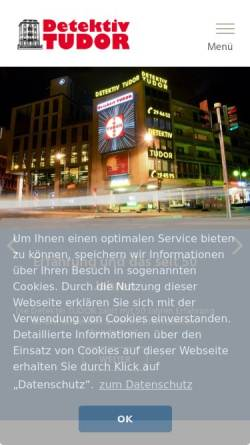 Vorschau der mobilen Webseite www.detektiv-tudor.com, TUDOR Detektei Köln