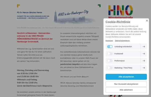 Vorschau von www.hno-hamburg-zentrum.de, HNO-Praxis Mönckebergstrasse - PD Dr. Marcos Sánchez Hanke