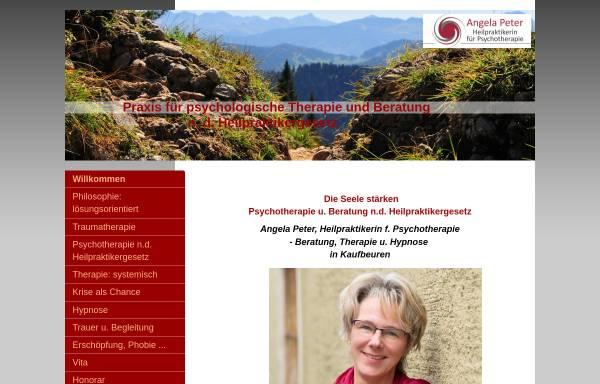Vorschau von www.praxis-fuer-psychologische-therapie-und-beratung.com, Angela Peter - Heilpraktikerin für Psychotherapie