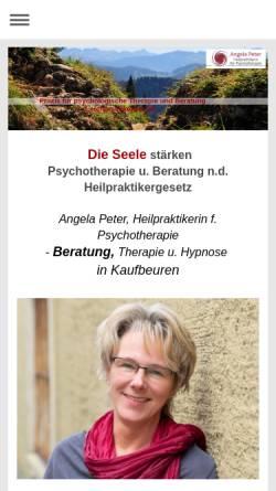 Vorschau der mobilen Webseite www.praxis-fuer-psychologische-therapie-und-beratung.com, Angela Peter - Heilpraktikerin für Psychotherapie