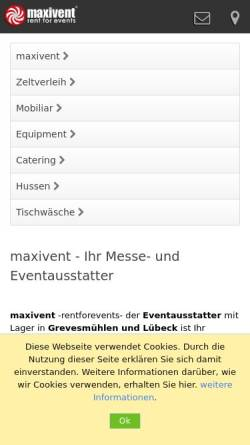 Vorschau der mobilen Webseite www.maxivent.de, maxivent UG