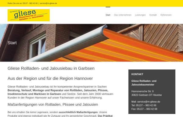 Vorschau von m-gliese.de, M. Gliese - Rollladen – und Jalousiebaumeister