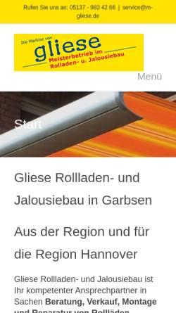 Vorschau der mobilen Webseite m-gliese.de, M. Gliese - Rollladen – und Jalousiebaumeister