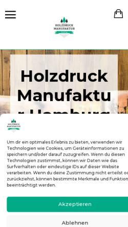 Vorschau der mobilen Webseite www.holzdruck-manufaktur-hamburg.de, Holzdruck Manufaktur Hamburg