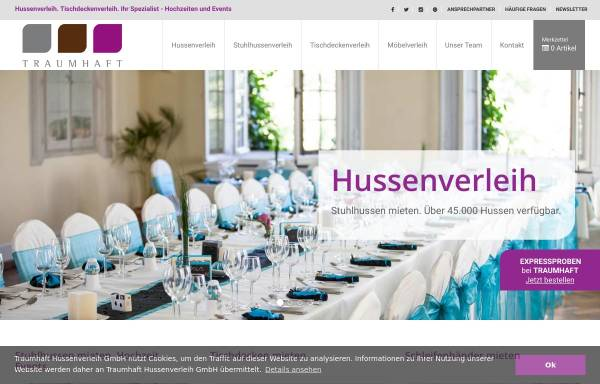 Vorschau von www.traumhaft-hussenverleih.de, Traumhaft GmbH