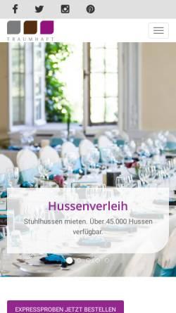 Vorschau der mobilen Webseite www.traumhaft-hussenverleih.de, Traumhaft GmbH