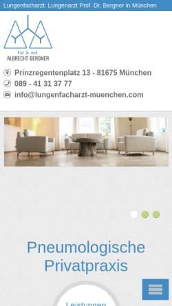 Vorschau der mobilen Webseite www.lungenfacharzt-muenchen.com, Lungenfacharzt Prof. Dr. med. Albrecht Bergner
