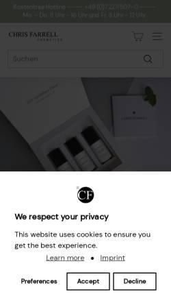 Vorschau der mobilen Webseite www.chris-farrell.com, Chris Farrell Cosmetics GmbH
