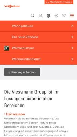 Vorschau der mobilen Webseite www.viessmann.at, Viessmann GmbH