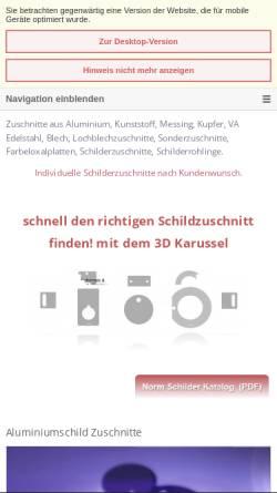 Vorschau der mobilen Webseite www.schilder-zuschnitte.de, Schilder Zuschnitte