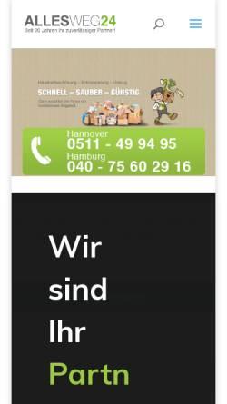 Vorschau der mobilen Webseite www.allesweg24.de, Alles Weg 24
