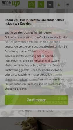 Vorschau der mobilen Webseite www.room-up.de, Room up - Online Raumshop GmbH