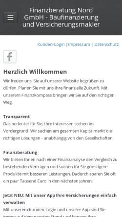 Vorschau der mobilen Webseite www.finanzen-nord.de, Finanzberatung Nord GmbH