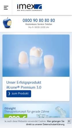 Vorschau der mobilen Webseite imex-zahnersatz.de, Imex Dental und Technik GmbH
