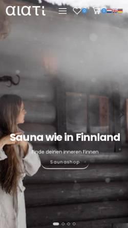 Vorschau der mobilen Webseite www.alati.de, ALATI Onlineshop für Sauna- und Wellnessprodukte
