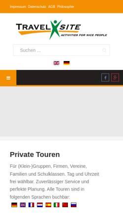 Vorschau der mobilen Webseite www.travelxsite.de, Travelxsite