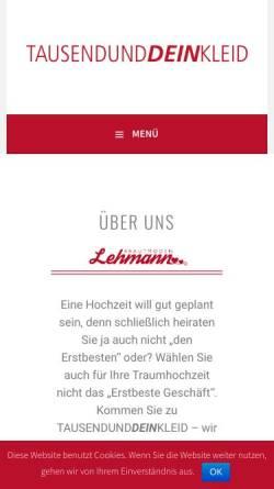 Vorschau der mobilen Webseite lehmann-brautmoden.de, TAUSENDUNDDEINKLEID -Brautmode Lehmann