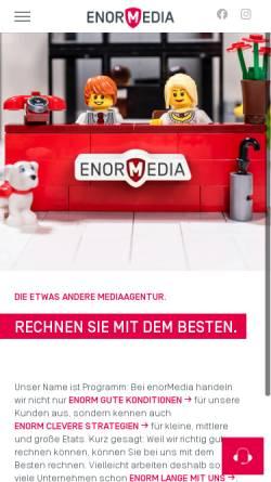 Vorschau der mobilen Webseite enormedia.de, enorMedia GmbH & Co. KG