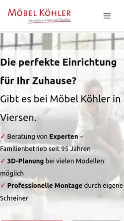 9ec5156d6a525a ... Vorschau der mobilen Webseite www.moebel-koehler.de