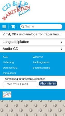 Vorschau der mobilen Webseite www.cd-vinyl-lp.at, CD-LP-Raritäten Kraus