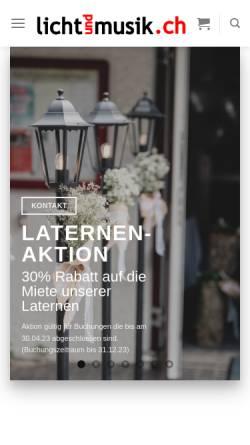 Vorschau der mobilen Webseite lichtundmusik.ch, Lichtundmusik.ch GmbH